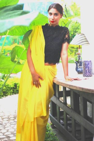 Plain saree with designer blouse buy online (2)