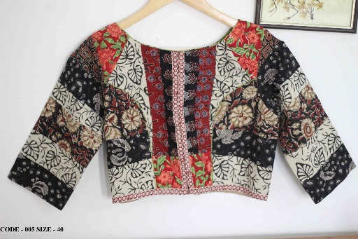 Buy readymade saree blouse online - hand block patch work cotton blouses (2)