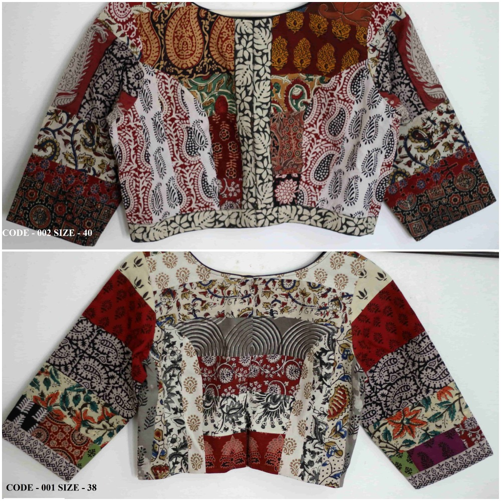 Buy readymade saree blouse online - hand block patch work cotton blouses