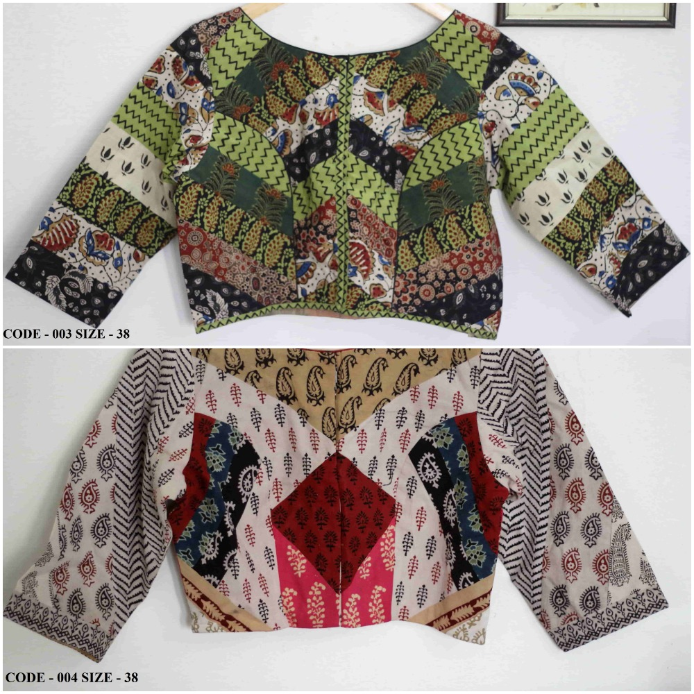 Buy readymade saree blouse online - hand block patchwork cotton blouses