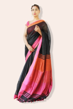 linen sarees buy online-black linen saree with dual tone border