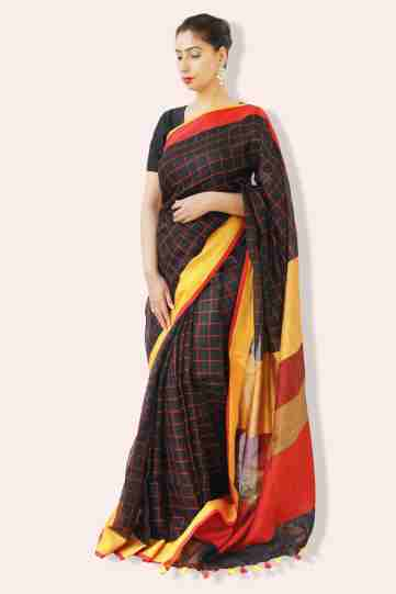linen sarees online shopping-black check linen saree with dual border (2)