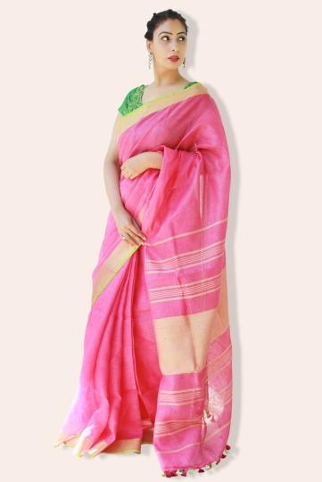 linen sarees online shopping-dark pink linen saree (2)